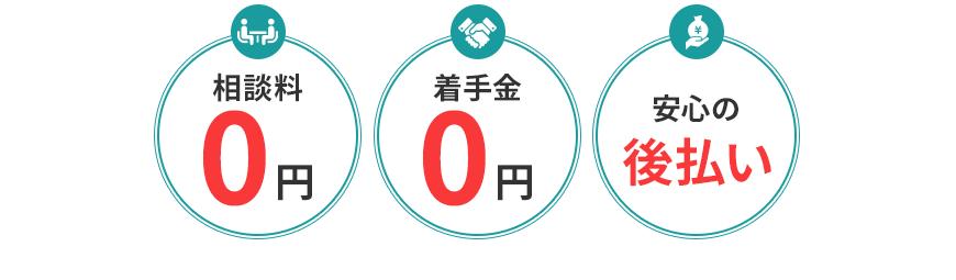 相談料0円/着手金0円/安心の後払い